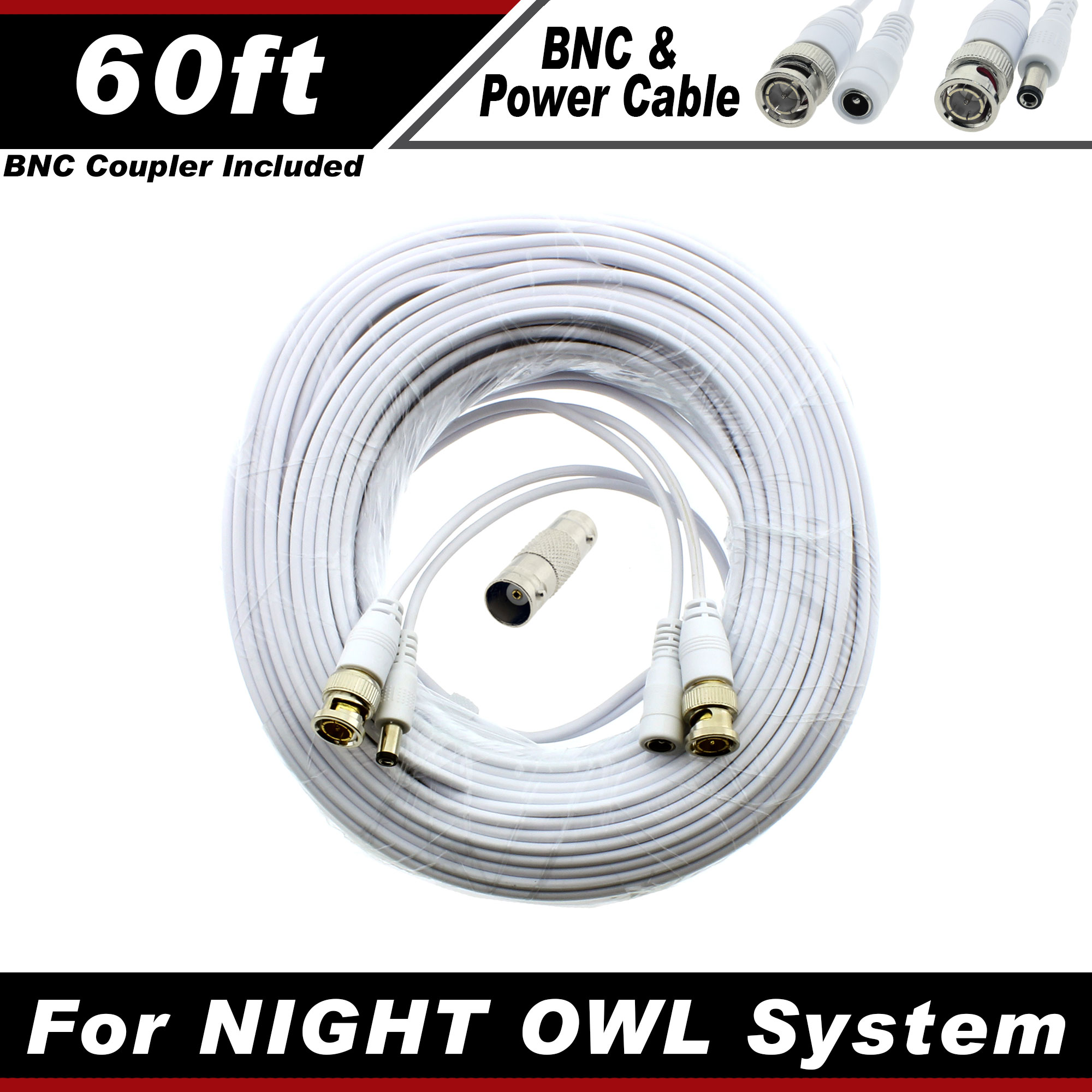 PREMIUM 60Ft HIGH QUALITY THICK BNC EXTENSION CABLES FOR WISENET SYSTEMS WITHE